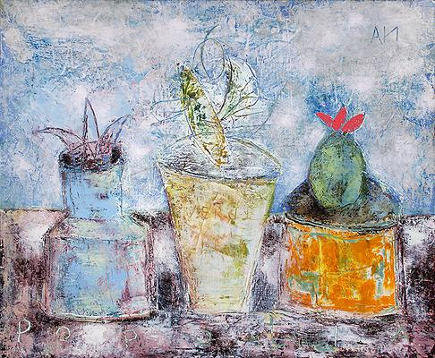 Cacti still life - oil, acrylic painting
