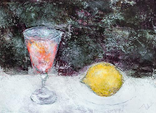 Wine Glass and a Lemon still life - acrylic painting
