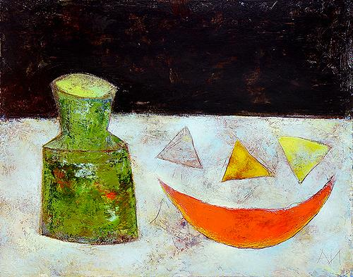 Still Life with a Green Bottle still life - acrylic painting