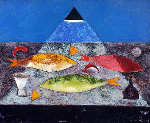 Still Life with Fish still life - acrylic painting