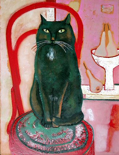 Black Cat naive & folk art - oil painting