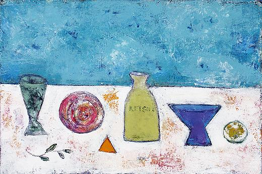 Still Life with White Wine still life - acrylic painting
