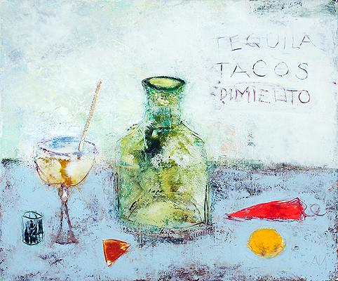 Tequila still life - acrylic painting