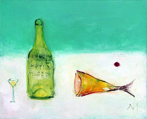 Still Life with a Bottle and a Piece of Fish still life - acrylic painting