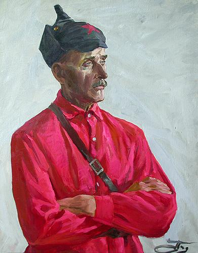 Sketch of a Military Pensioner portrait or figure - oil painting
