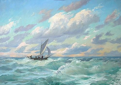 Seascape. Fresh Wind seascape - oil painting