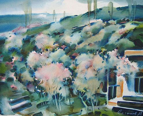 Spring in the Mountains rural landscape - watercolor painting