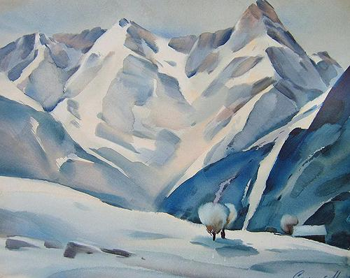 Fresh Snow mountain landscape - watercolor painting