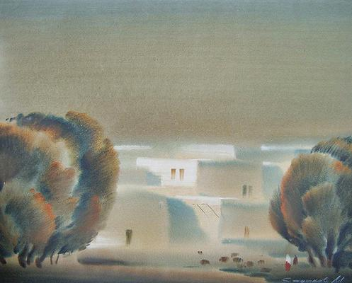 Outskirts of Bukhara cityscape - watercolor painting