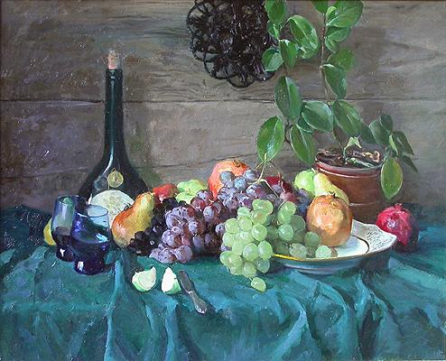 Wine and Fruit still life - oil painting