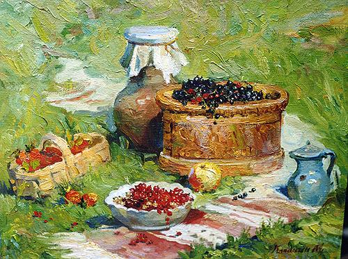 Basket with Berries still life - oil painting