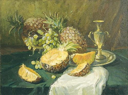 Still Life with Pine Apples still life - oil painting