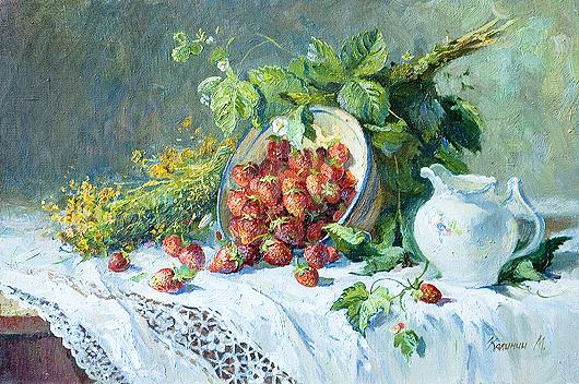 Still Life with Strawberries still life - oil painting