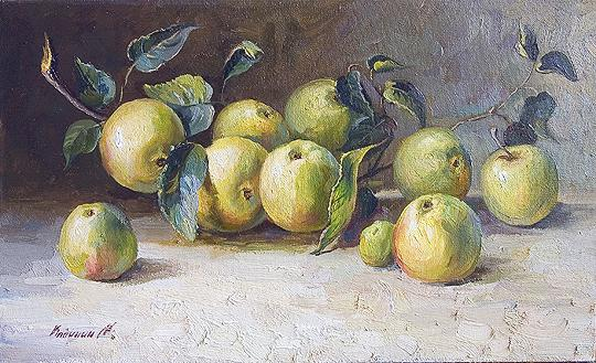 Apple Branch still life - oil painting