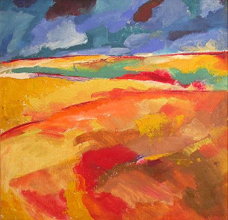Steppe abstract landscape - oil painting
