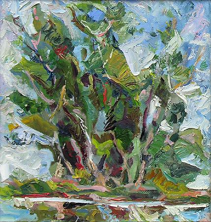 Black Poplar near Water abstract landscape - oil painting