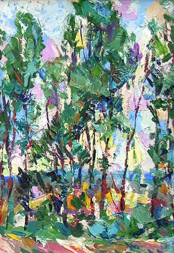 Grove abstract landscape - oil painting