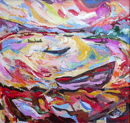 At the Volga River at 8 a.m. abstract landscape - oil painting