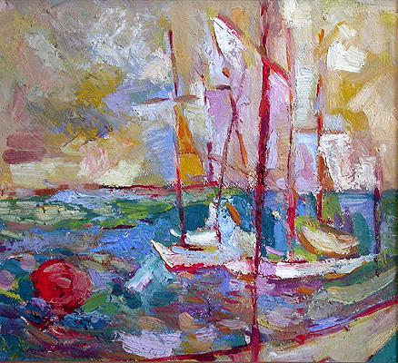 Yachts abstract landscape - oil painting