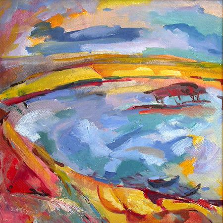 The Volga River Banks abstract landscape - oil painting
