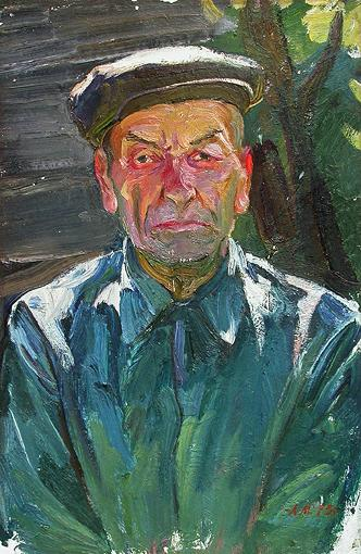 Portrait of a Kolkhoznik. Sketch portrait or figure - oil painting