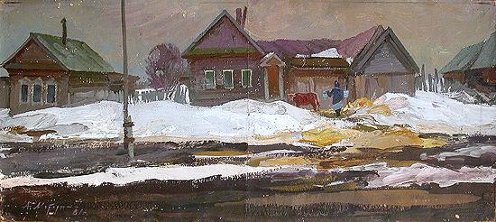 Sadovka Village. Klava's House rural landscape - oil painting