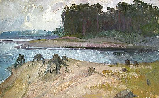 At the Bay summer landscape - oil painting