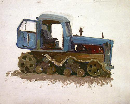 Sketch for a Painting cars - oil painting