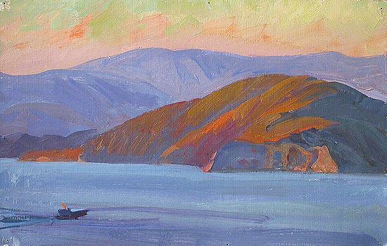 Olkhon Island. Lake Baikal seascape - oil painting