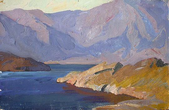 Lake Baikal mountain landscape - oil painting