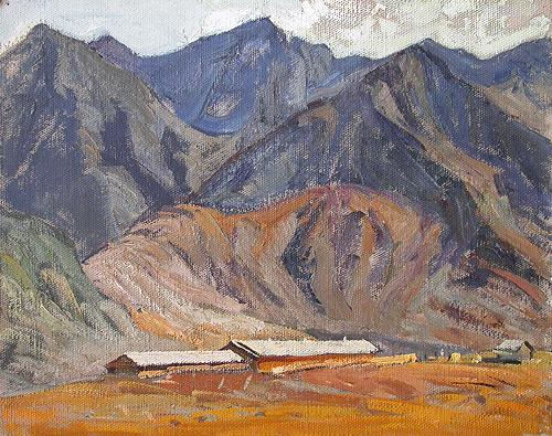 The Altai Sketch mountain landscape - oil painting