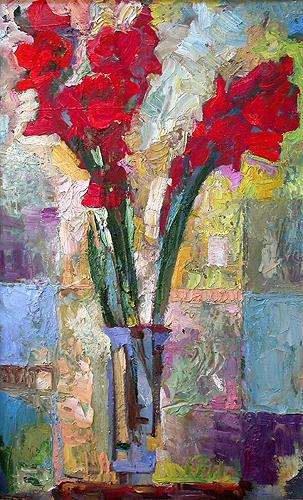 Гладиолусы цветы - масло живопись