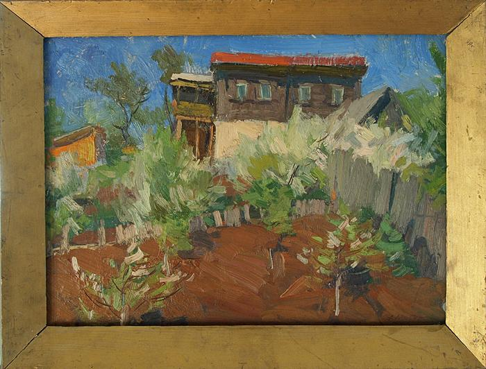Gardens in Blossom rural landscape - oil painting