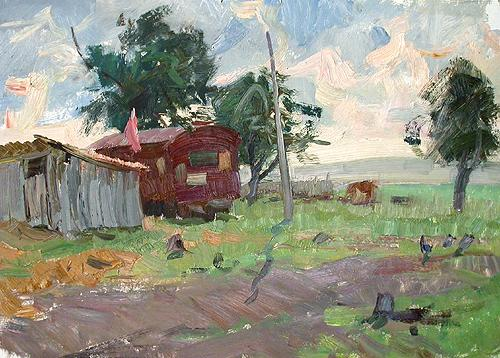 At the Summer Pen rural landscape - oil painting