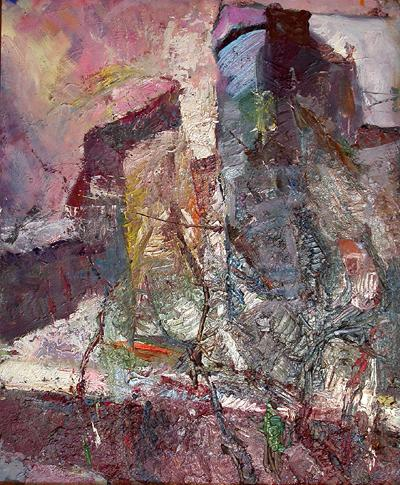 Urban Motive abstract landscape - oil painting