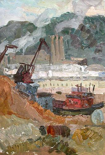 Sketch industrial landscape - oil painting