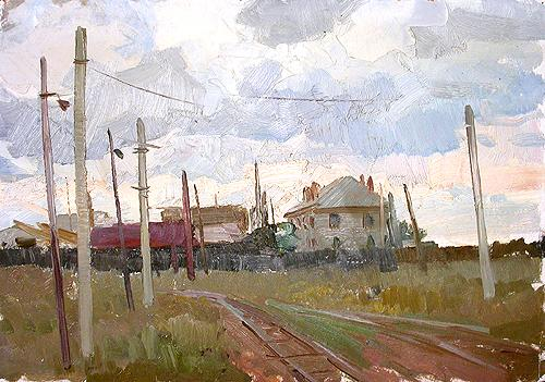 Sketch industrial landscape - oil painting