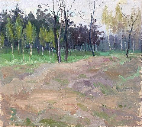 At the Volga River spring landscape - oil painting