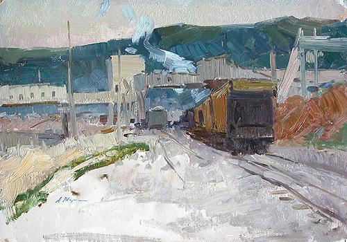 In the Zhigulevskiye Mountains industrial landscape - oil painting