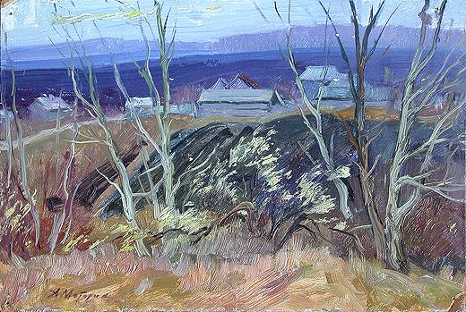 At the Outskirts rural landscape - oil painting