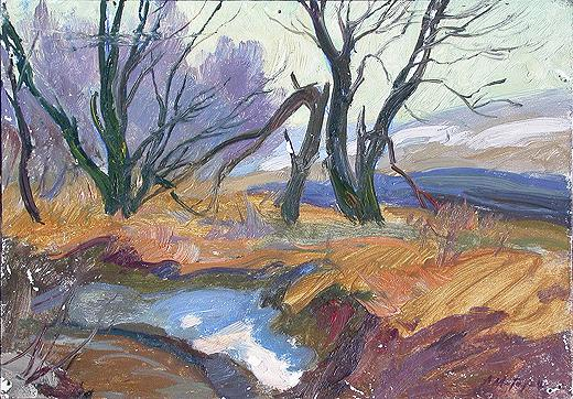 At the Brook spring landscape - oil painting