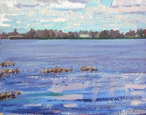 At the Neva River summer landscape - oil painting