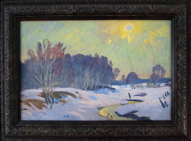 Beginning of Spring spring landscape - oil painting