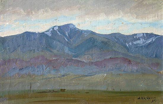 Evening. The Altai Mountains mountain landscape - oil painting