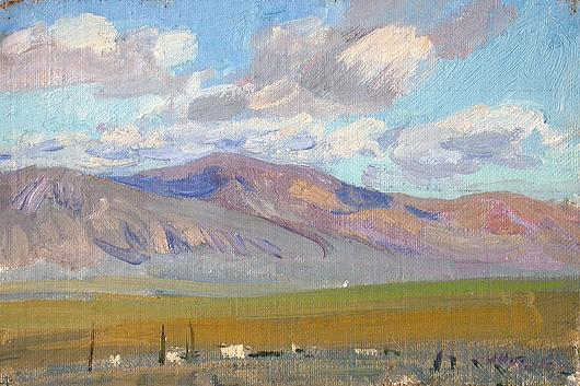 The Altai Mountains. Bright Day mountain landscape - oil painting