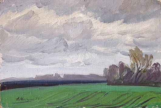 Озимые осенний пейзаж - масло живопись