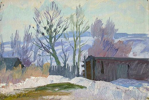 March in the Country rural landscape - oil painting