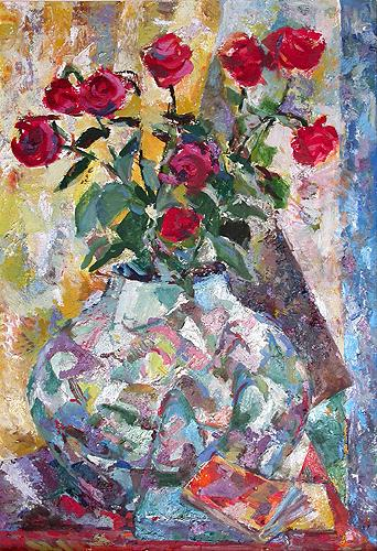 Small Roses in the Chinese Vase flower - oil painting