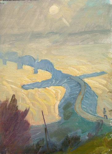 Этюд индустриальный пейзаж - масло живопись