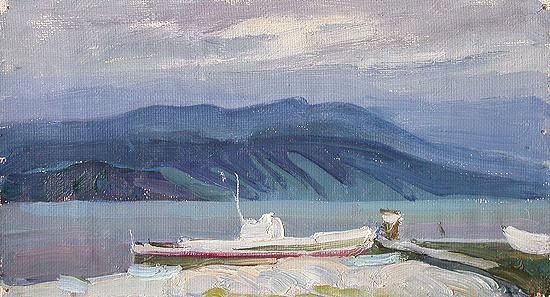 Lake Baikal seascape - oil painting